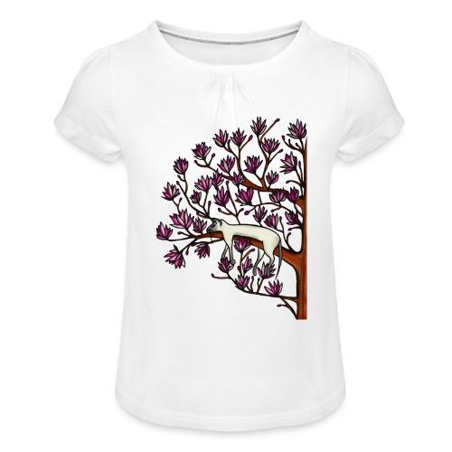 Magnolia - T-shirt med rynkning flicka