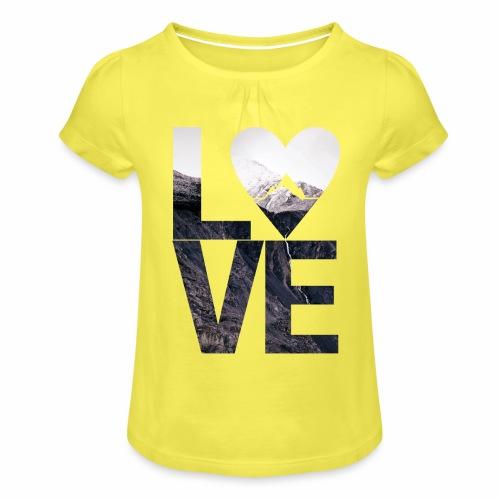 L.O.V.E - Mountains - Mädchen-T-Shirt mit Raffungen