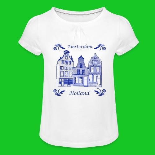 Holland Grachtenpanden Delfts Blauw - Meisjes-T-shirt met plooien
