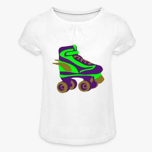 roller skate wings by patjila - Girl's T-Shirt with Ruffles
