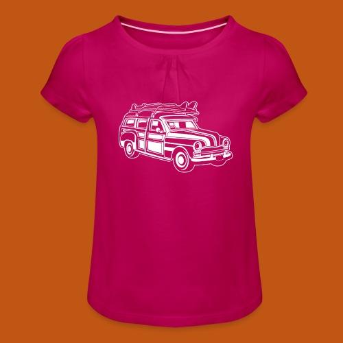 Chevy Cadilac Woodie / Oldtimer Kombi 01_weiß - Mädchen-T-Shirt mit Raffungen