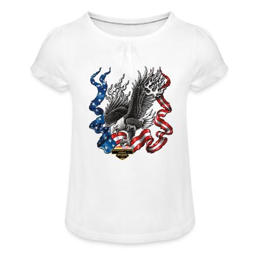 american eagle schrift gross - Mädchen-T-Shirt mit Raffungen