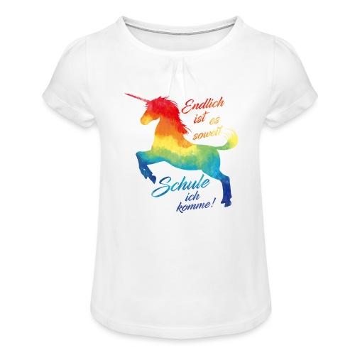 Einhorn_Schule.png - Mädchen-T-Shirt mit Raffungen
