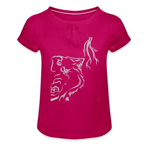 Silver Thunder Wolf Tribal - Mädchen-T-Shirt mit Raffungen