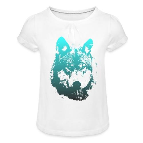 illustration tete de loup - T-shirt à fronces au col Fille
