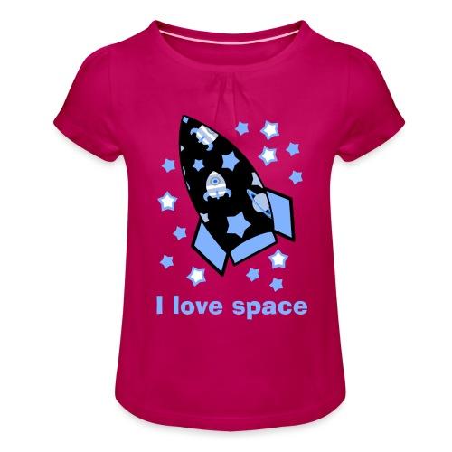 I love space - Maglietta da ragazza con arricciatura
