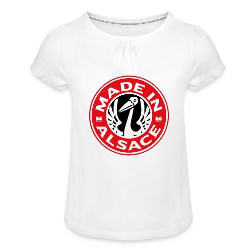 StorkyBuck - T-shirt à fronces au col Fille