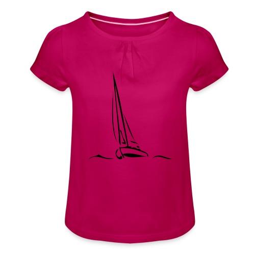 Segelboot - Mädchen-T-Shirt mit Raffungen