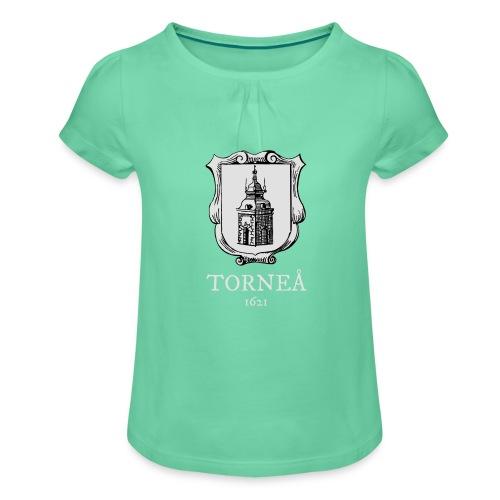 Torneå 1621 vaalea - Tyttöjen t-paita, jossa rypytyksiä