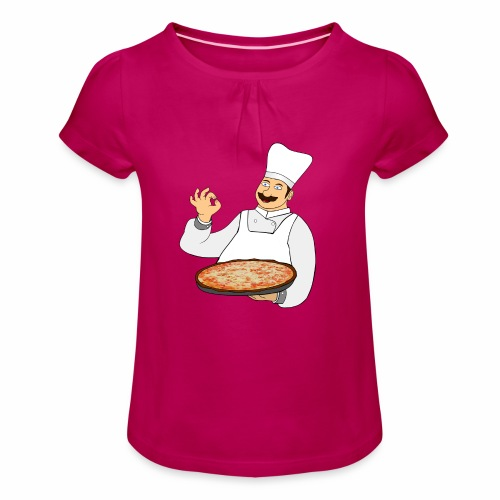 Pizza Bäcker - Mädchen-T-Shirt mit Raffungen