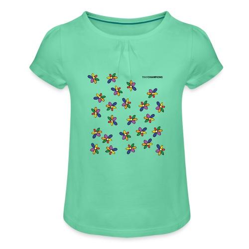 colour flower design tc - Girl's T-Shirt with Ruffles