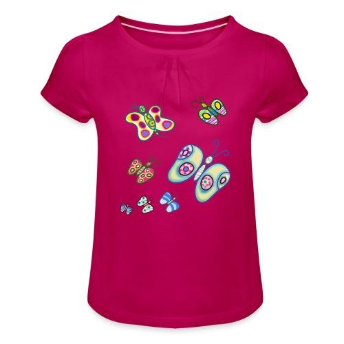Allegria di farfalle - Maglietta da ragazza con arricciatura