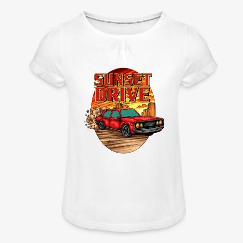 Sunset Drive - Mädchen-T-Shirt mit Raffungen