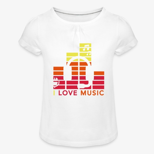 I love music Illustration Gig Band Musik Godigart - Mädchen-T-Shirt mit Raffungen