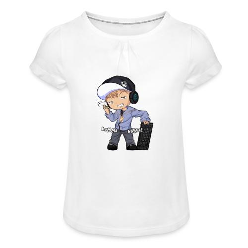 Kapuze Komma Näher mit Text by ShinaiShadow2 png - Mädchen-T-Shirt mit Raffungen