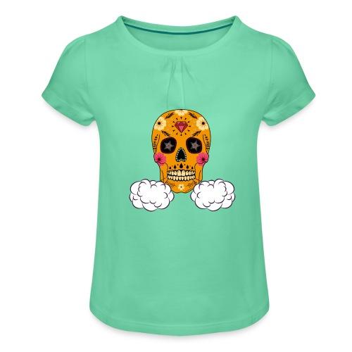 skul orange png - T-shirt à fronces au col Fille
