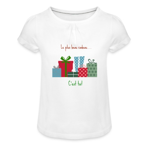 Le plus beau cadeau - T-shirt à fronces au col Fille