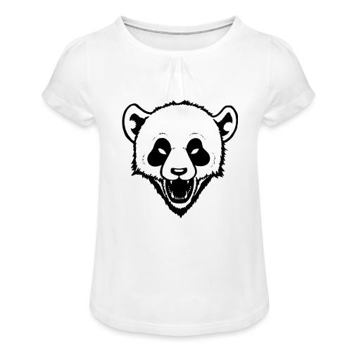 Panda - Mädchen-T-Shirt mit Raffungen