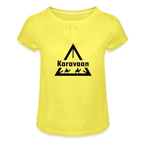 Karavaan Black (High Res) - Meisjes-T-shirt met plooien