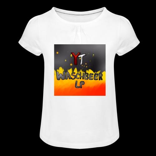 Waschbeer Design 2# Mit Flammen - Mädchen-T-Shirt mit Raffungen