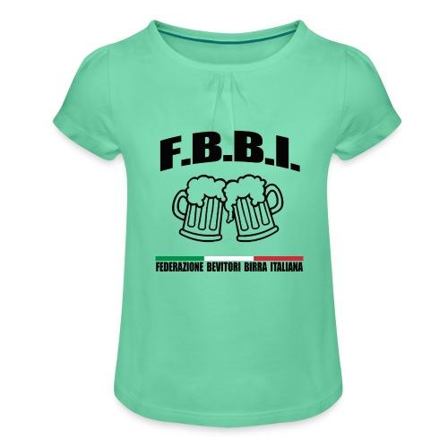 FBBI LOGO NERO - Maglietta da ragazza con arricciatura