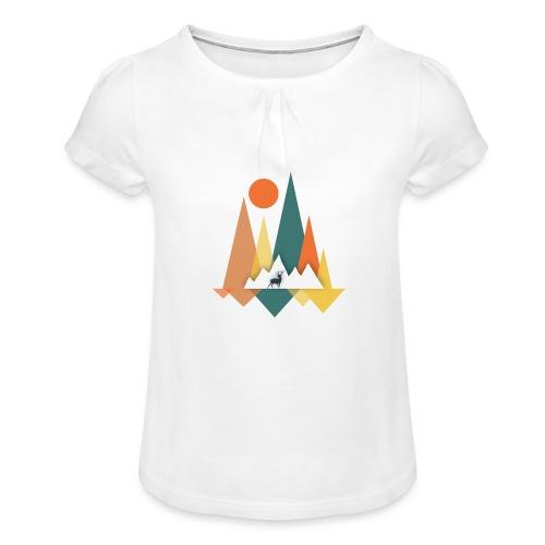 Berge - Mädchen-T-Shirt mit Raffungen