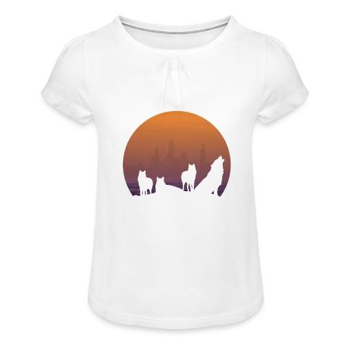 Wolfsrudel - Mädchen-T-Shirt mit Raffungen