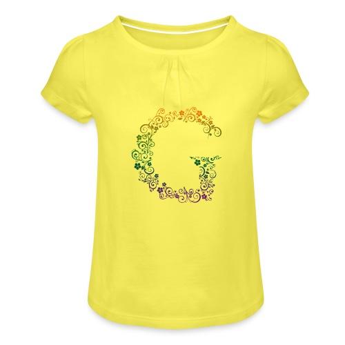 G wie Garten - Mädchen-T-Shirt mit Raffungen