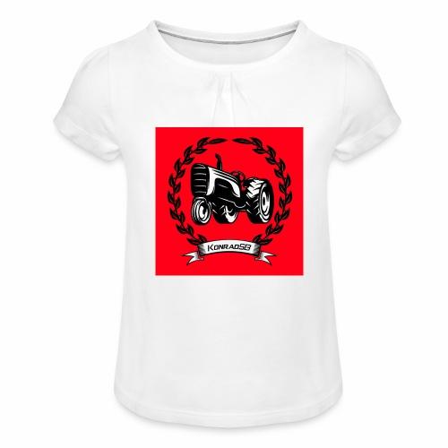 KonradSB czerwony - Koszulka dziewczęca z marszczeniami