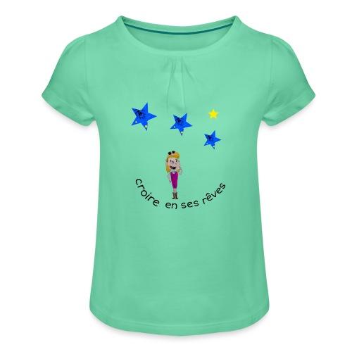 La tête dans les étoiles - T-shirt à fronces au col Fille