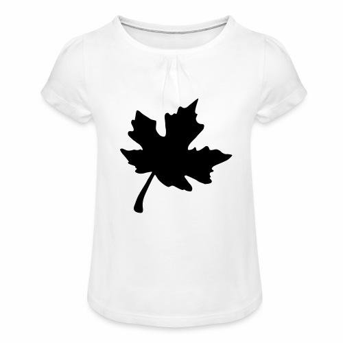 Ahorn Blatt - Mädchen-T-Shirt mit Raffungen