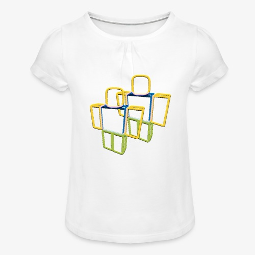 Sqaure Noob Person - Girl's T-Shirt with Ruffles