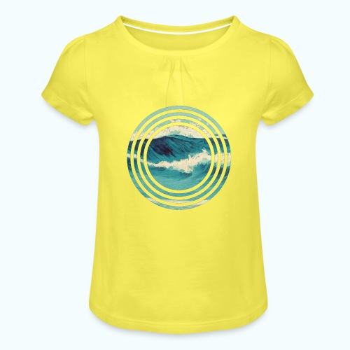 Wave vintage watercolor - Girl's T-Shirt with Ruffles