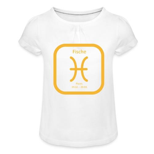 Horoskop Fische12 - Mädchen-T-Shirt mit Raffungen