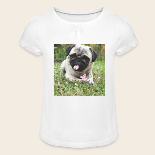 Mops Wiese - Mädchen-T-Shirt mit Raffungen