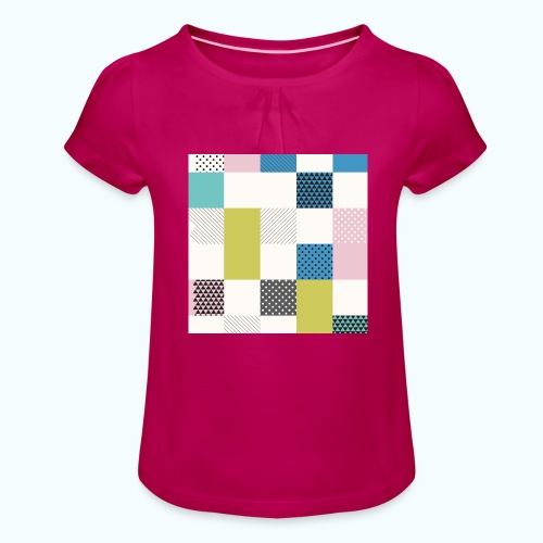 Abstract art squares - Girl's T-Shirt with Ruffles