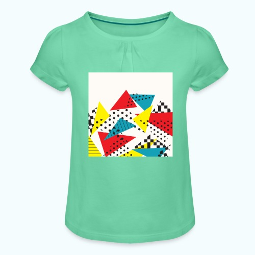 Abstract vintage collage - Girl's T-Shirt with Ruffles