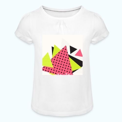 Neon geometry shapes - Girl's T-Shirt with Ruffles