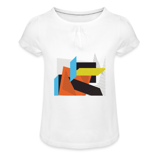 Vintage shapes abstract - Girl's T-Shirt with Ruffles