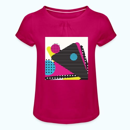 Abstract vintage shapes pink - Girl's T-Shirt with Ruffles