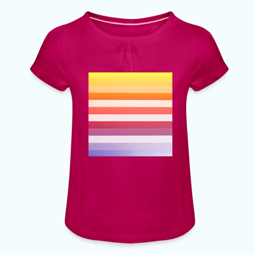 Rainbow Abstract Acrylic Painting - Girl's T-Shirt with Ruffles