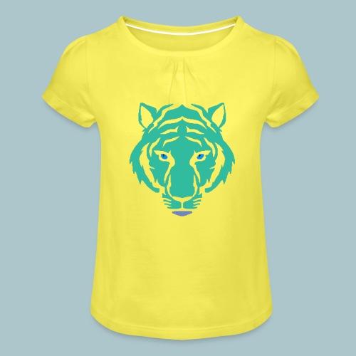 tijger blauw - Meisjes-T-shirt met plooien