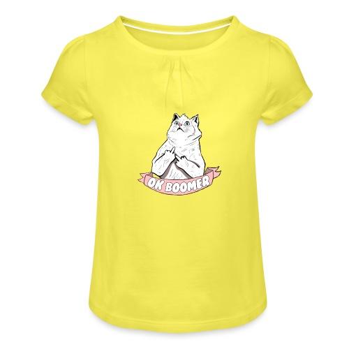 OK Boomer Cat Meme - Girl's T-Shirt with Ruffles