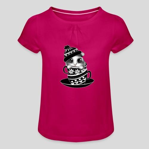 Schwarze Tiere - Mädchen-T-Shirt mit Raffungen