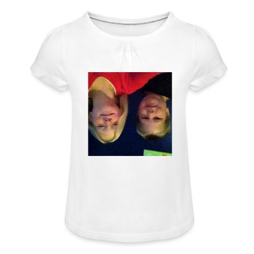 Gammelt logo - Pige T-shirt med flæser