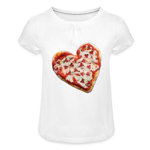 Pizza a cuore - Maglietta da ragazza con arricciatura