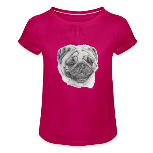 Pug mops 2 - Pige T-shirt med flæser