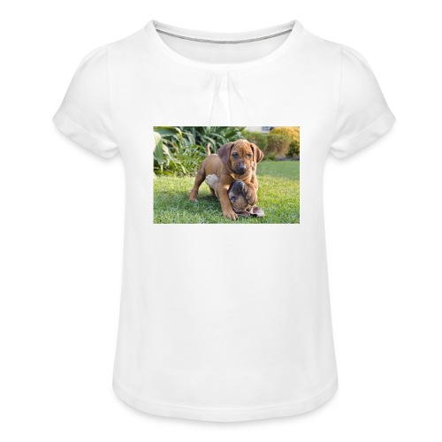 adorable puppies - Girl's T-Shirt with Ruffles