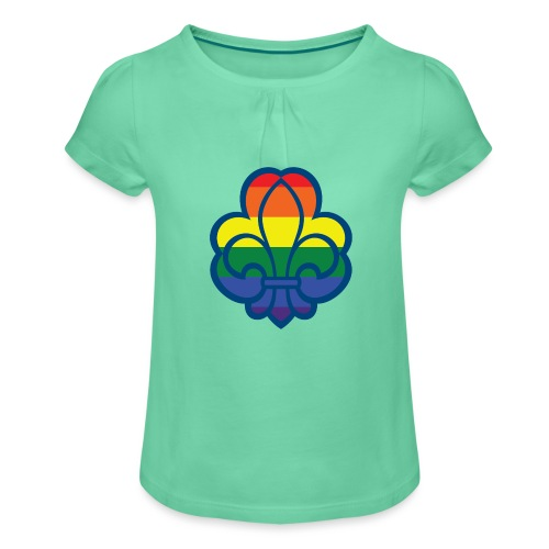 Regnbuespejder hvide t-shirts - Pige T-shirt med flæser