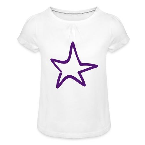 Star Outline Pixellamb - Mädchen-T-Shirt mit Raffungen
